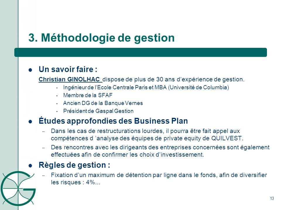 3. Méthodologie de gestion