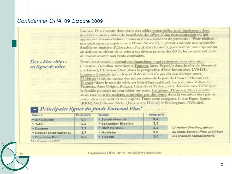 6. Revue de Presse Confidentiel OPA, 09 Octobre 2009