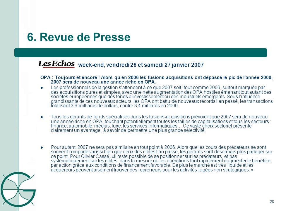 6. Revue de Presse week-end, vendredi 26 et samedi 27 janvier 2007