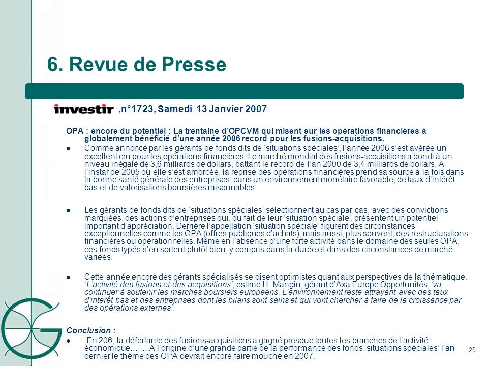 6. Revue de Presse ,n°1723, Samedi 13 Janvier 2007