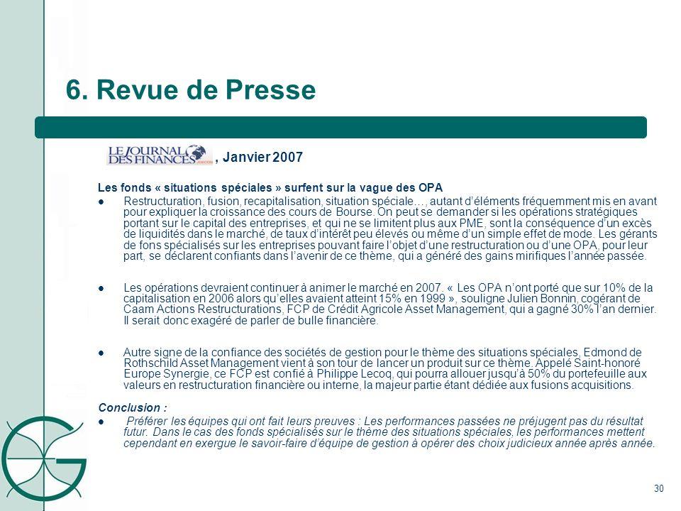 6. Revue de Presse , Janvier 2007