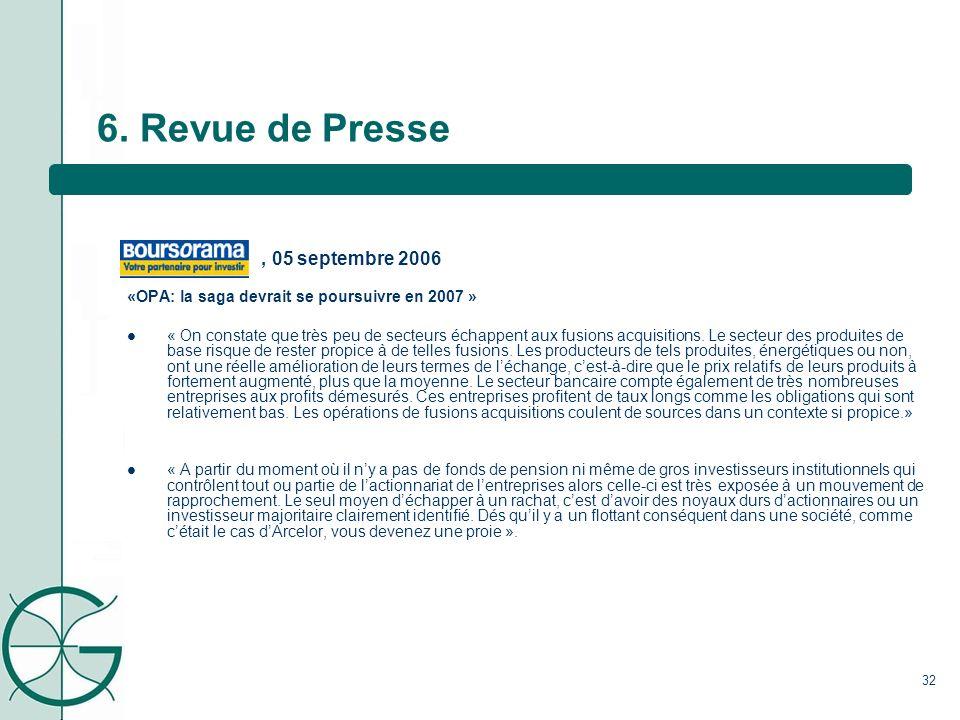 6. Revue de Presse , 05 septembre 2006