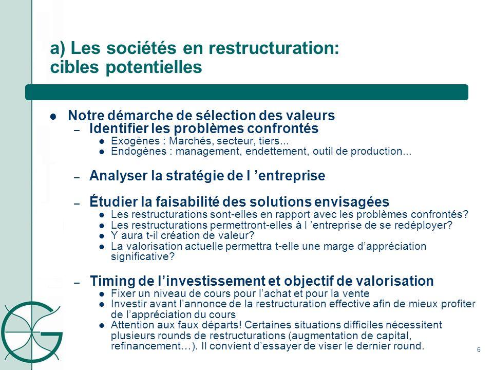 a) Les sociétés en restructuration: cibles potentielles