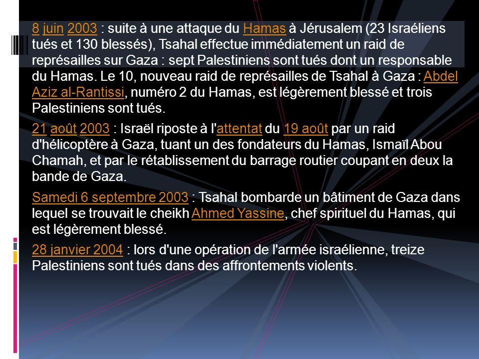 8 juin 2003 : suite à une attaque du Hamas à Jérusalem (23 Israéliens tués et 130 blessés), Tsahal effectue immédiatement un raid de représailles sur Gaza : sept Palestiniens sont tués dont un responsable du Hamas. Le 10, nouveau raid de représailles de Tsahal à Gaza : Abdel Aziz al-Rantissi, numéro 2 du Hamas, est légèrement blessé et trois Palestiniens sont tués.