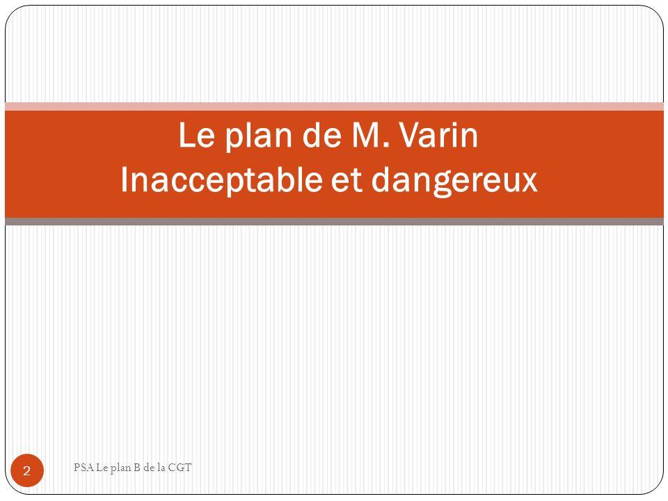Le plan de M. Varin Inacceptable et dangereux