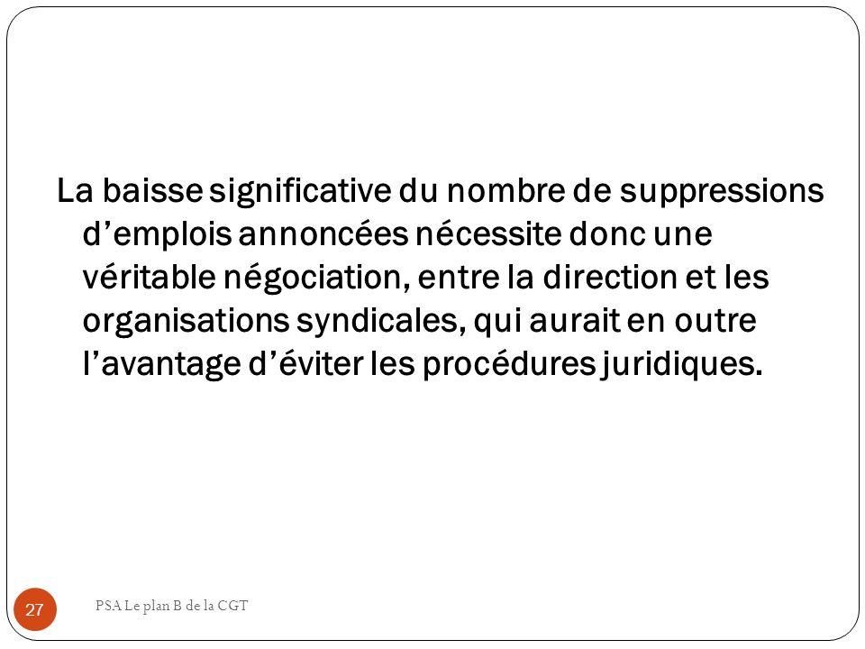 La baisse significative du nombre de suppressions d'emplois annoncées nécessite donc une véritable négociation, entre la direction et les organisations syndicales, qui aurait en outre l'avantage d'éviter les procédures juridiques.