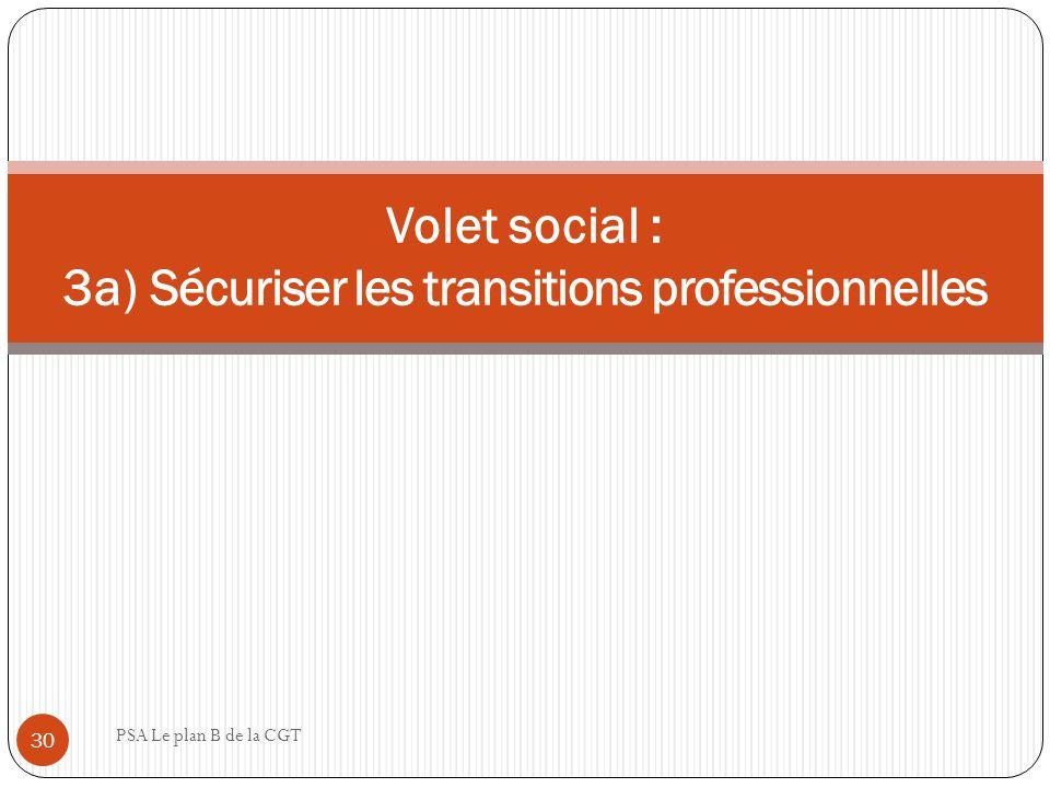 Volet social : 3a) Sécuriser les transitions professionnelles