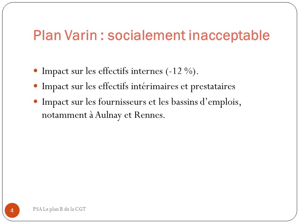 Plan Varin : socialement inacceptable