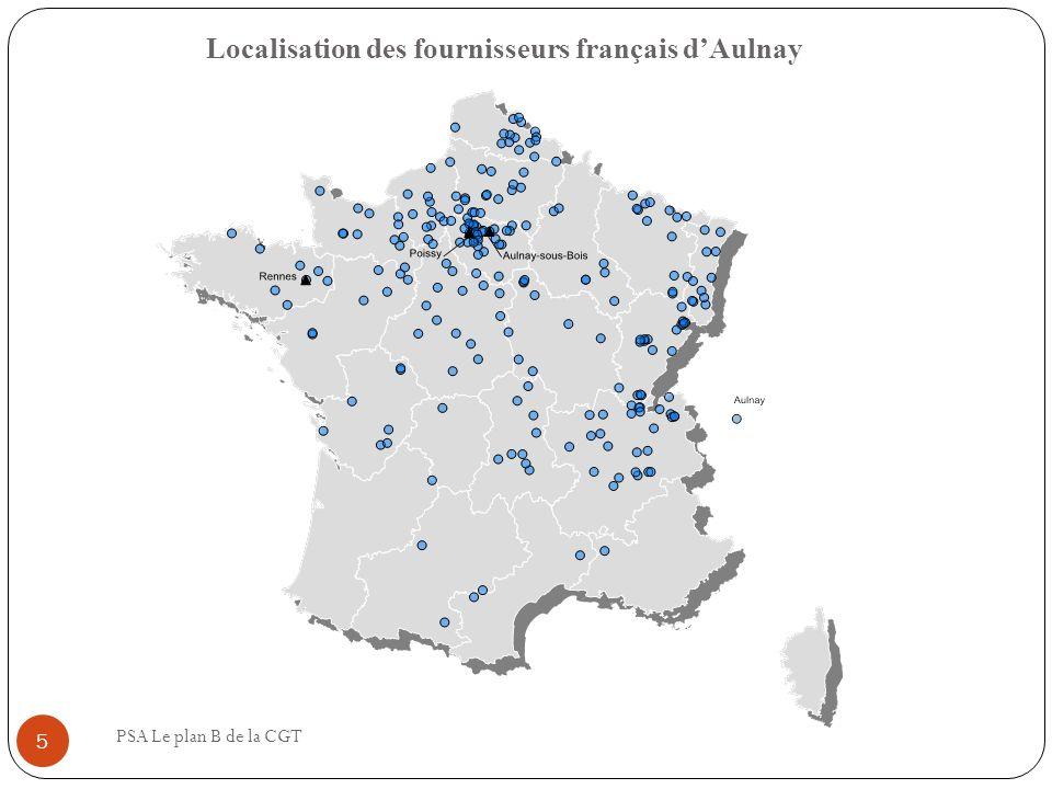 Localisation des fournisseurs français d'Aulnay