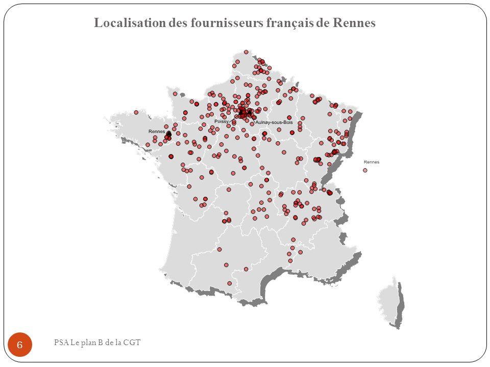 Localisation des fournisseurs français de Rennes