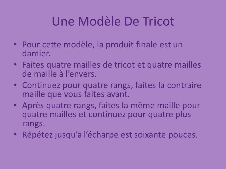 Une Modèle De Tricot Pour cette modèle, la produit finale est un damier. Faites quatre mailles de tricot et quatre mailles de maille à l'envers.