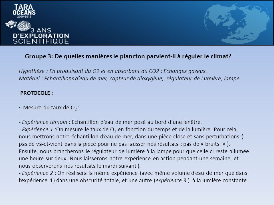 Groupe 3: De quelles manières le plancton parvient-il à réguler le climat