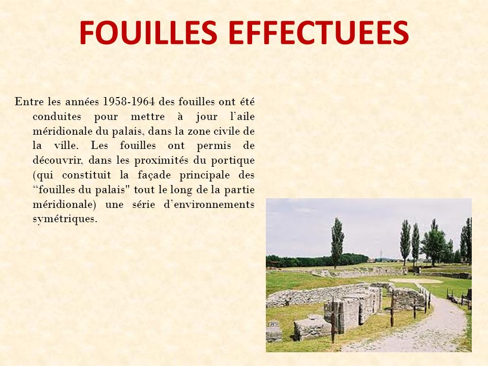 FOUILLES EFFECTUEES