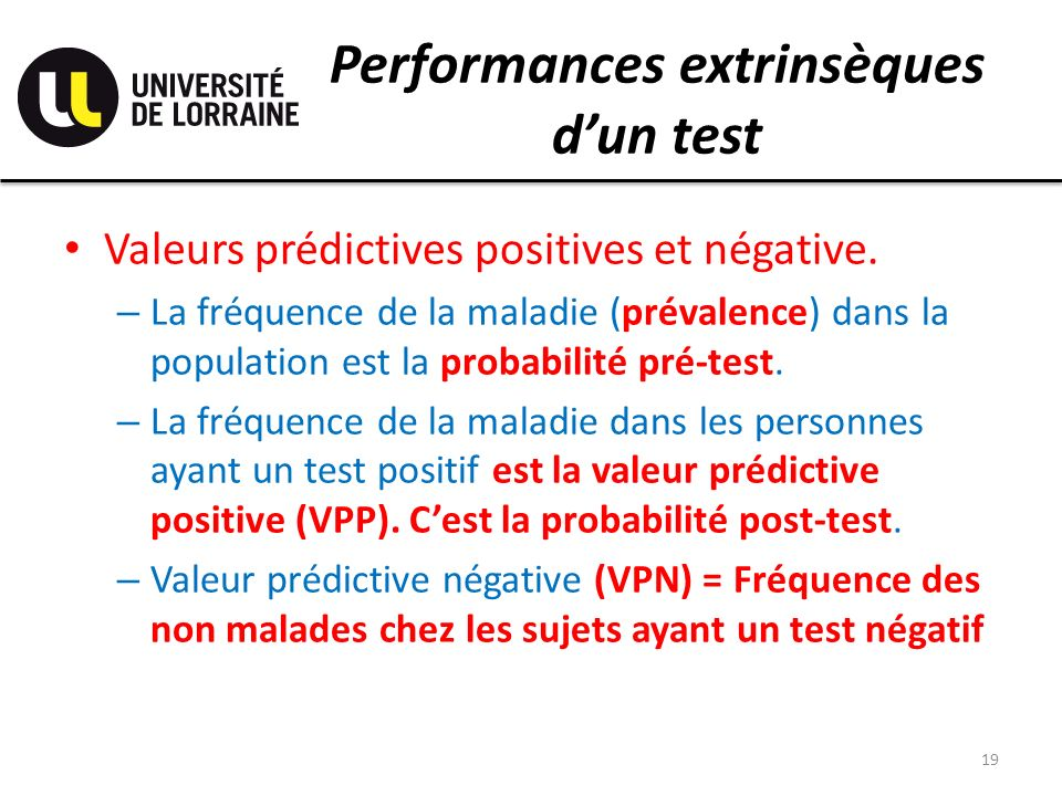 Performances extrinsèques d'un test