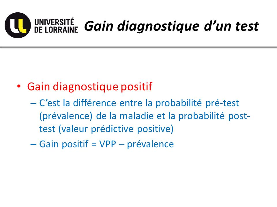 Gain diagnostique d'un test