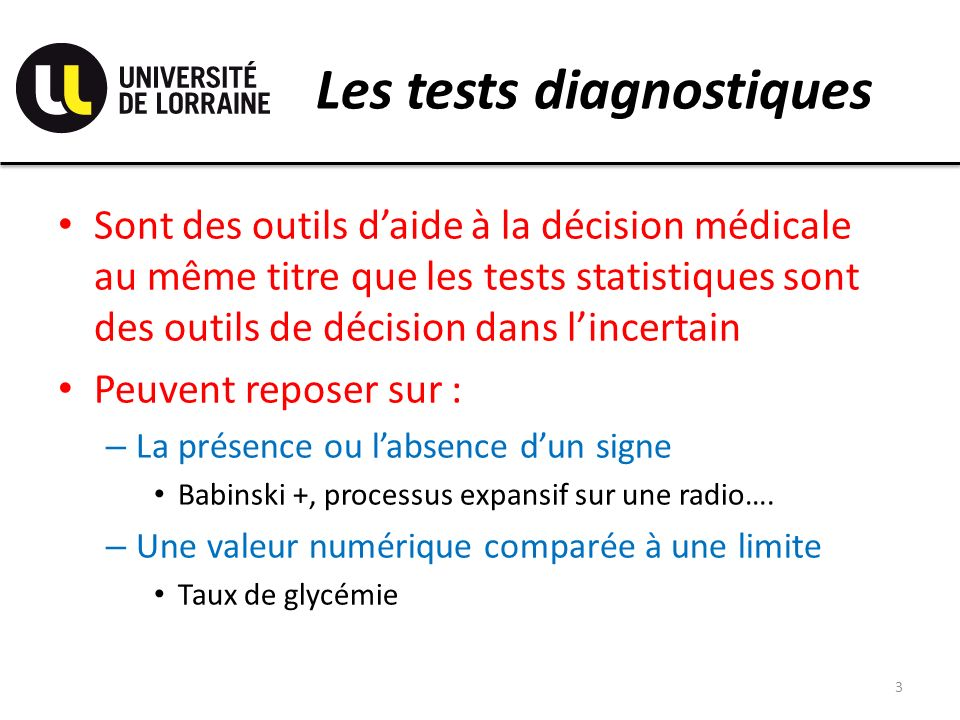 Les tests diagnostiques