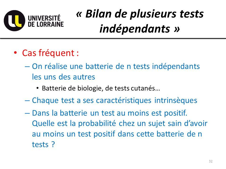 « Bilan de plusieurs tests indépendants »