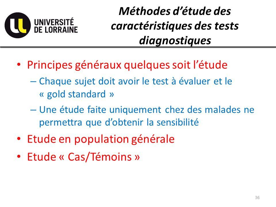 Méthodes d'étude des caractéristiques des tests diagnostiques