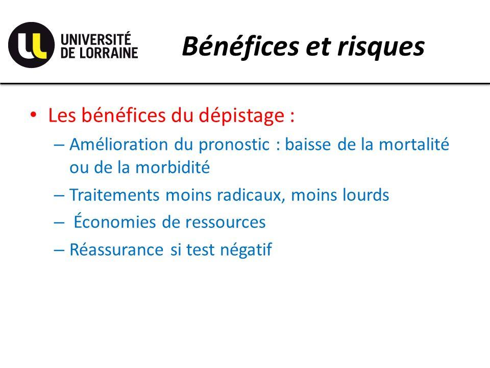 Bénéfices et risques Les bénéfices du dépistage :