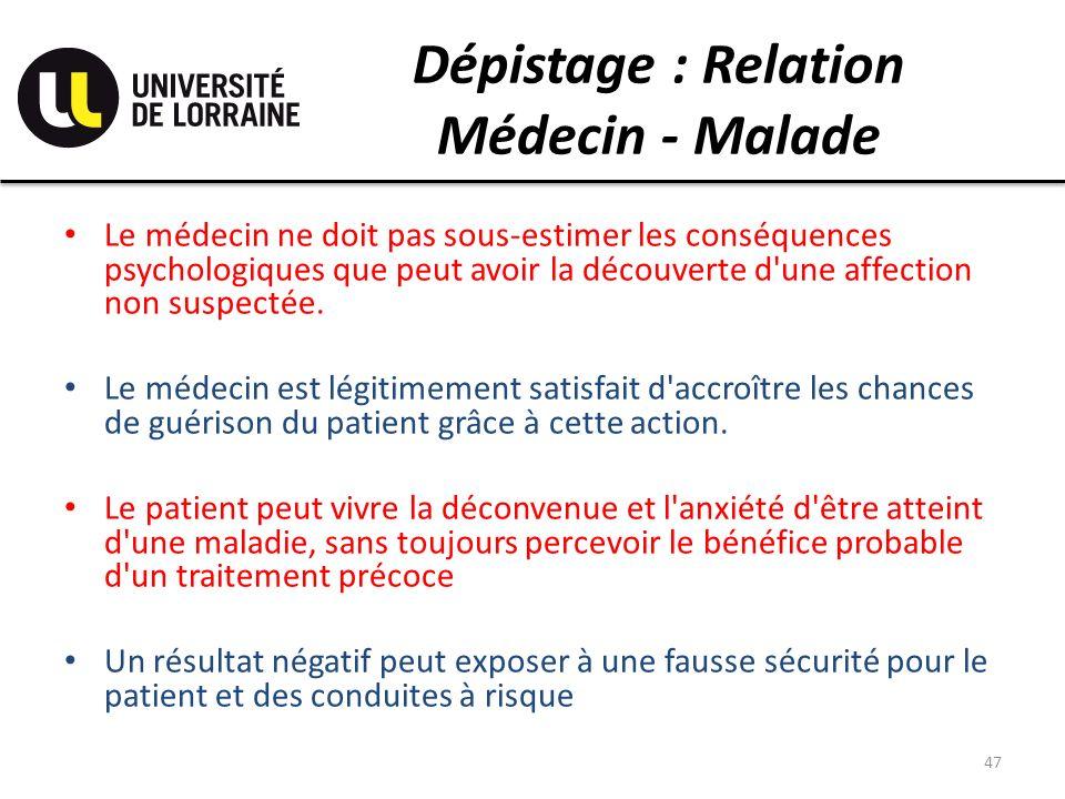 Dépistage : Relation Médecin - Malade