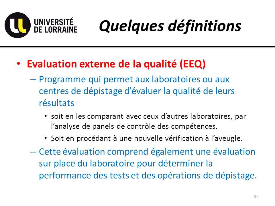 Quelques définitions Evaluation externe de la qualité (EEQ)