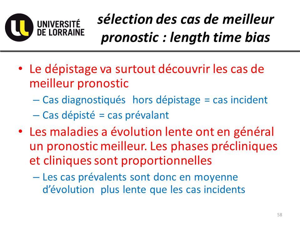 sélection des cas de meilleur pronostic : length time bias