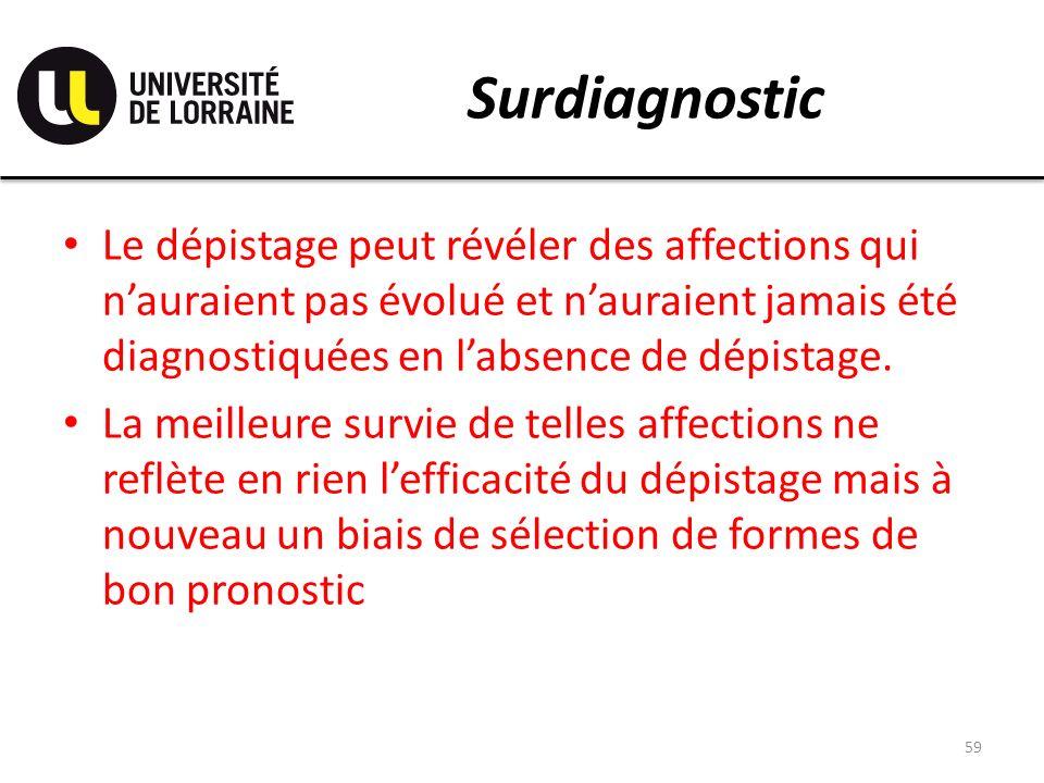 Surdiagnostic Le dépistage peut révéler des affections qui n'auraient pas évolué et n'auraient jamais été diagnostiquées en l'absence de dépistage.