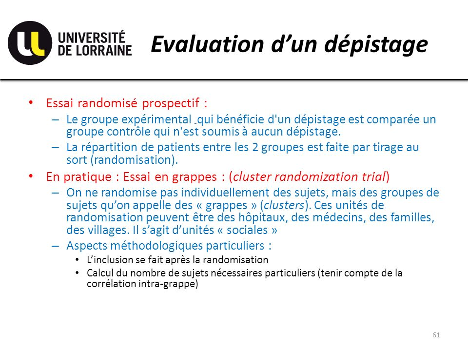 Evaluation d'un dépistage