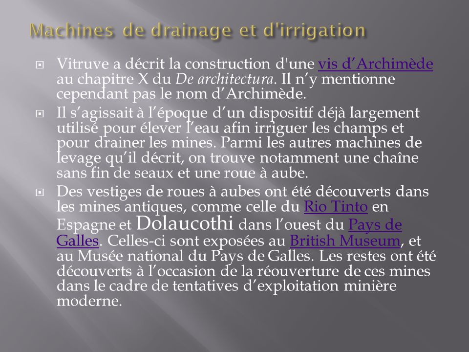 Machines de drainage et d irrigation