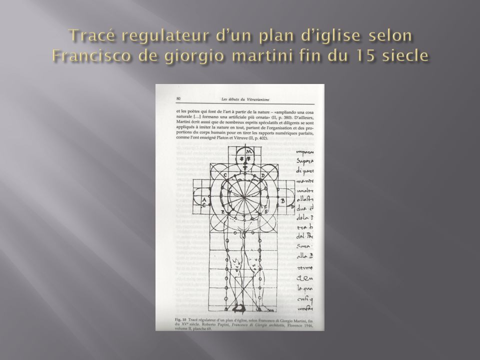 Tracé regulateur d'un plan d'iglise selon Francisco de giorgio martini fin du 15 siecle