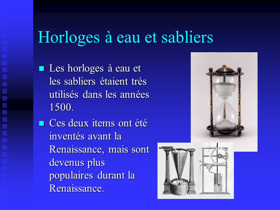 Horloges à eau et sabliers