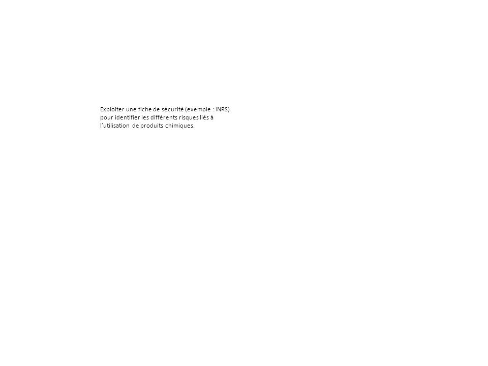 Exploiter une fiche de sécurité (exemple : INRS)