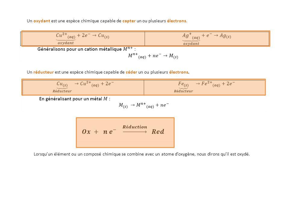 Un oxydant est une espèce chimique capable de capter un ou plusieurs électrons.