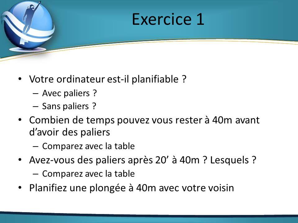 Exercice 1 Votre ordinateur est-il planifiable