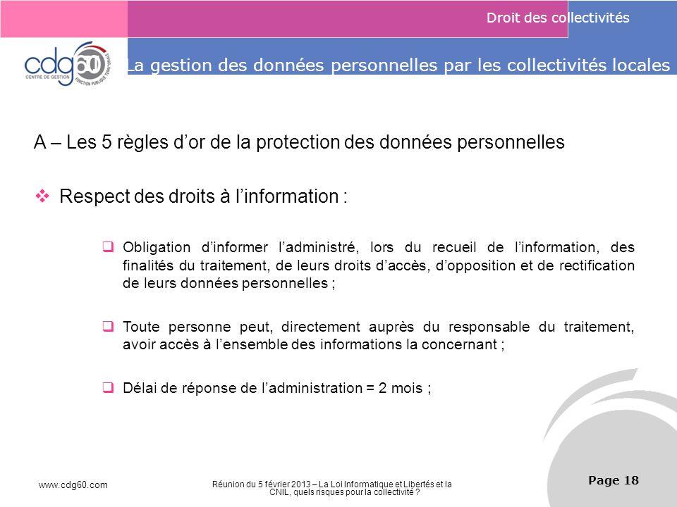 II – La gestion des données personnelles par les collectivités locales