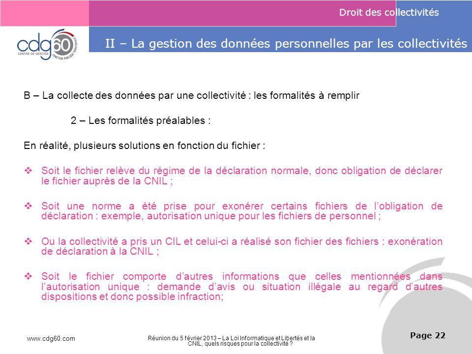 II – La gestion des données personnelles par les collectivités II – La gestion des données personnelles par les collectivités