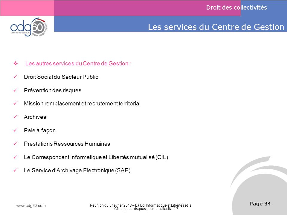 Les services du Centre de Gestion