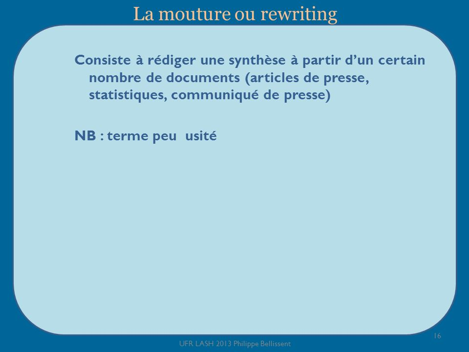 La mouture ou rewriting
