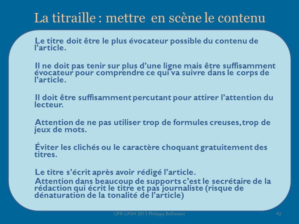 La titraille : mettre en scène le contenu