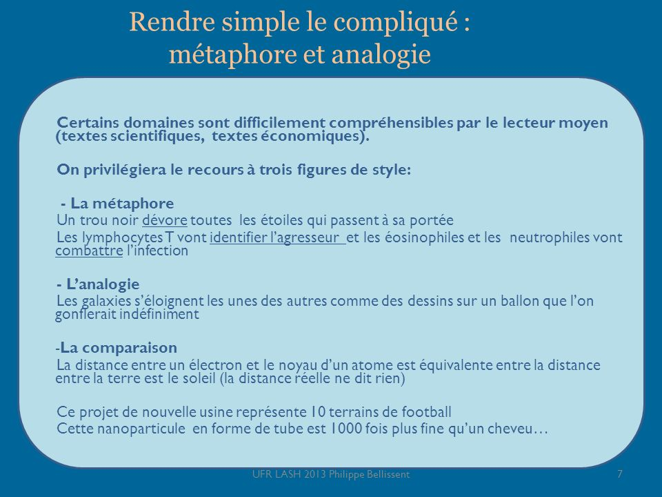 Rendre simple le compliqué : métaphore et analogie