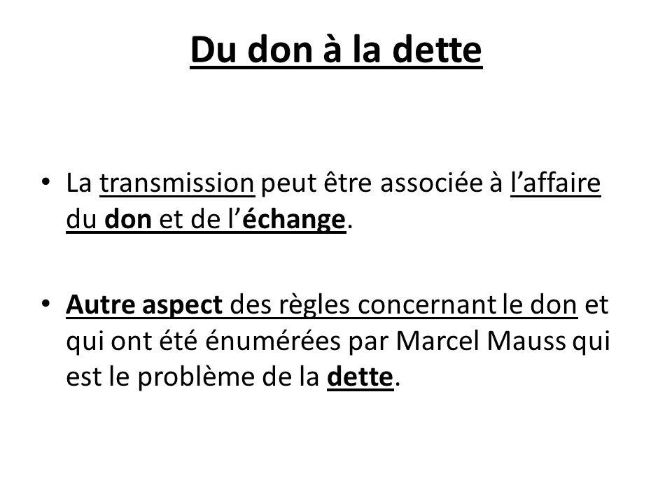 Du don à la dette La transmission peut être associée à l'affaire du don et de l'échange.