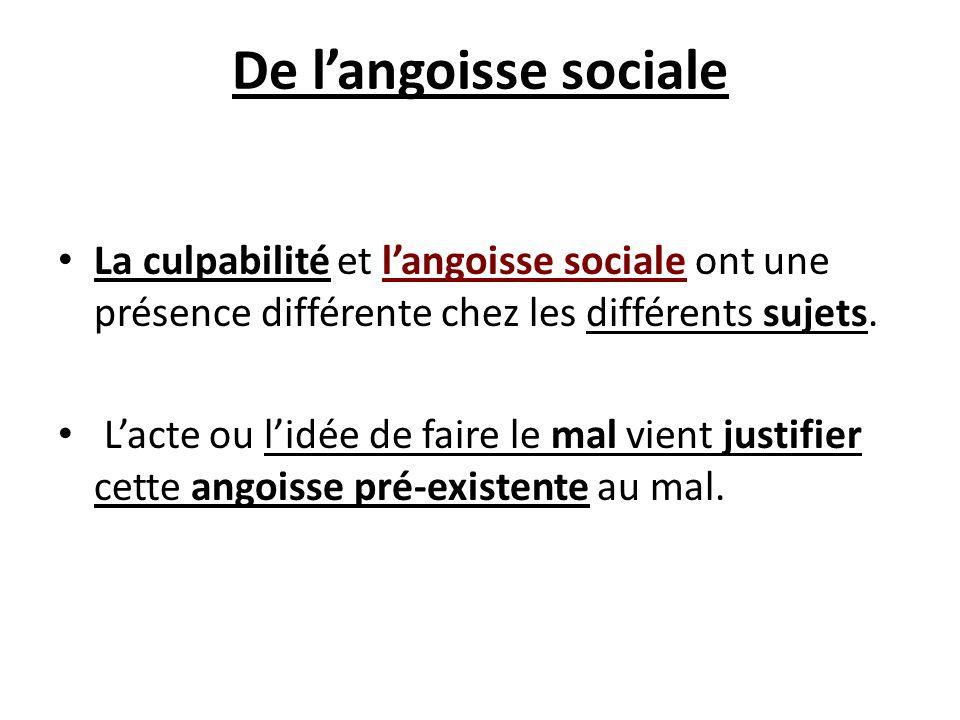 De l'angoisse sociale La culpabilité et l'angoisse sociale ont une présence différente chez les différents sujets.