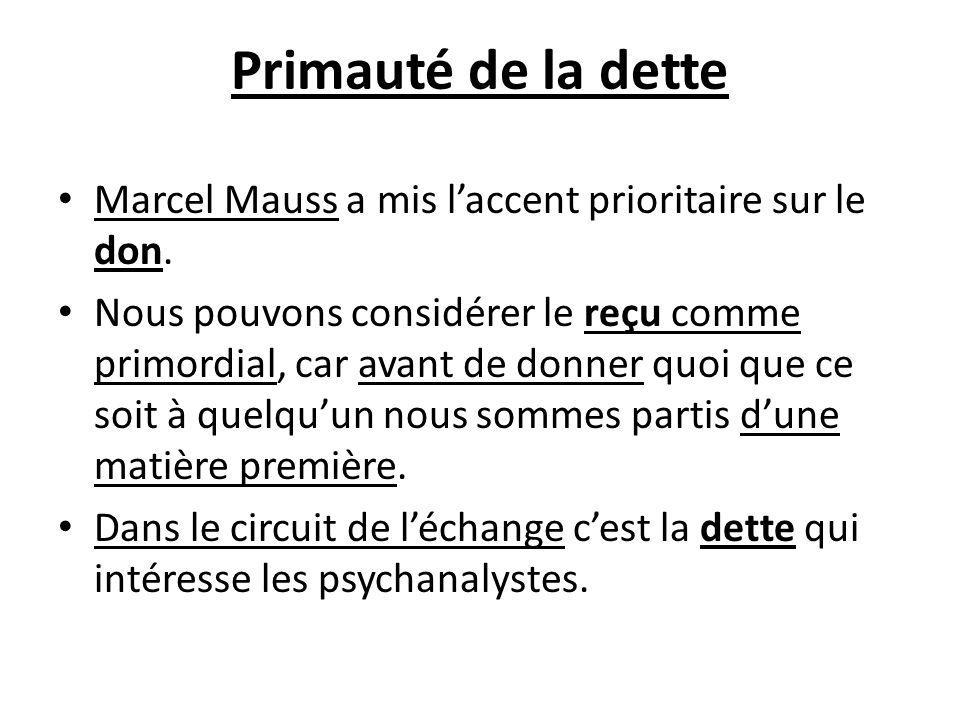 Primauté de la dette Marcel Mauss a mis l'accent prioritaire sur le don.