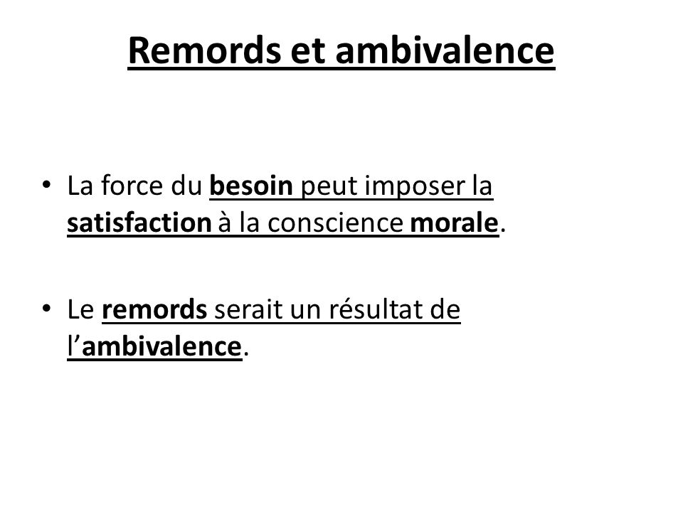 Remords et ambivalence