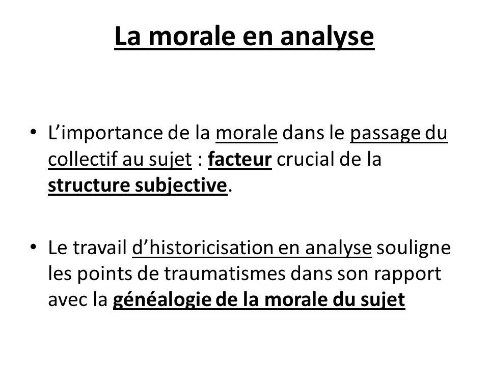 La morale en analyse L'importance de la morale dans le passage du collectif au sujet : facteur crucial de la structure subjective.