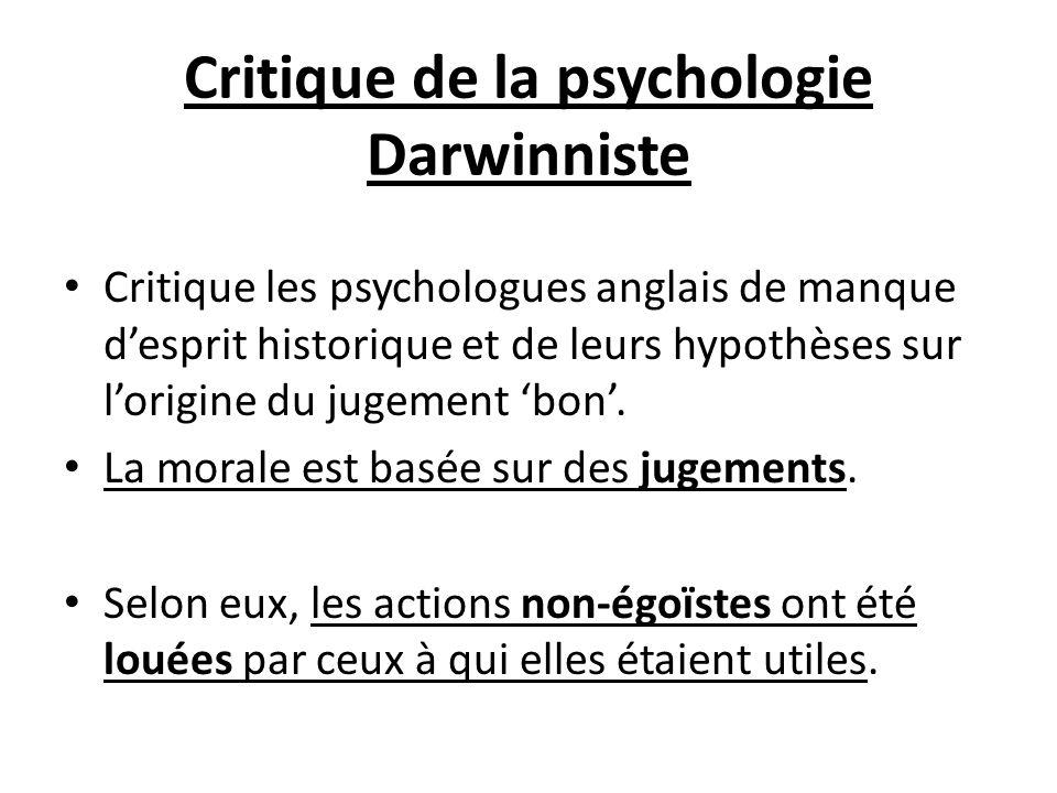 Critique de la psychologie Darwinniste