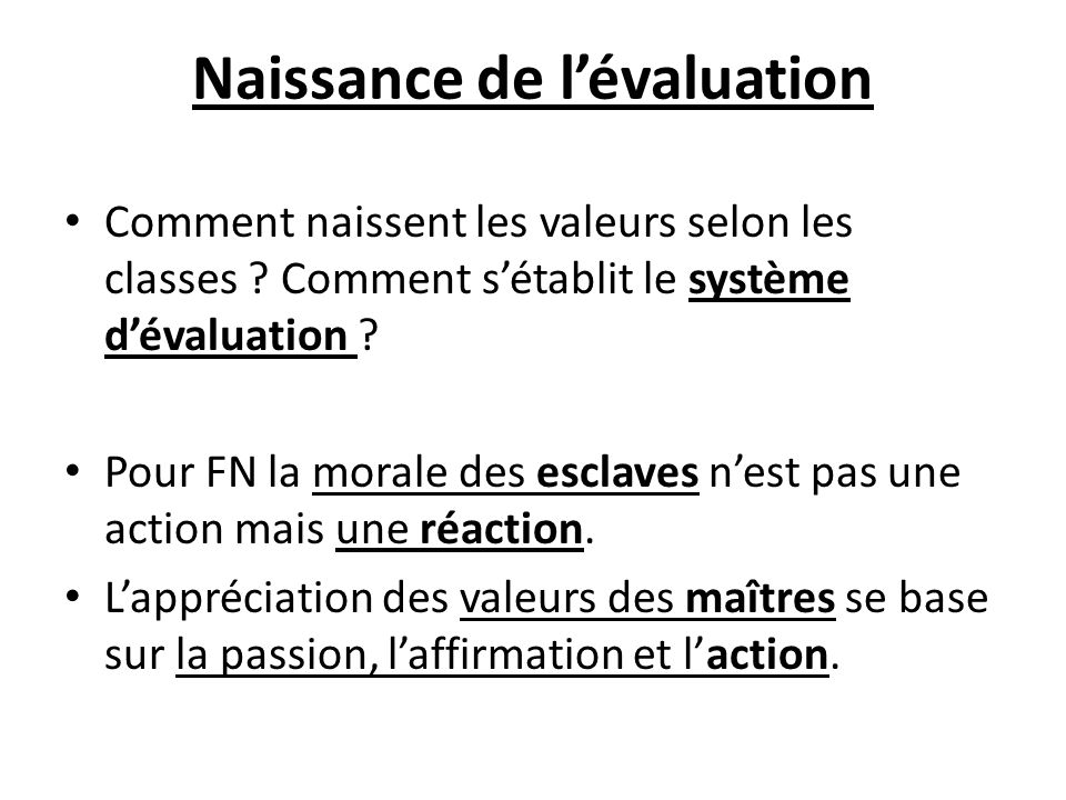 Naissance de l'évaluation