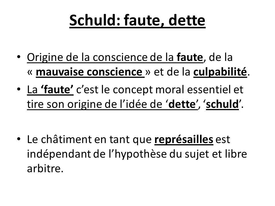 Schuld: faute, dette Origine de la conscience de la faute, de la « mauvaise conscience » et de la culpabilité.