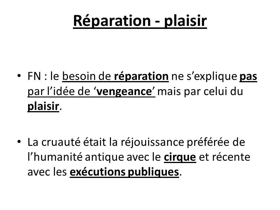 Réparation - plaisir FN : le besoin de réparation ne s'explique pas par l'idée de 'vengeance' mais par celui du plaisir.