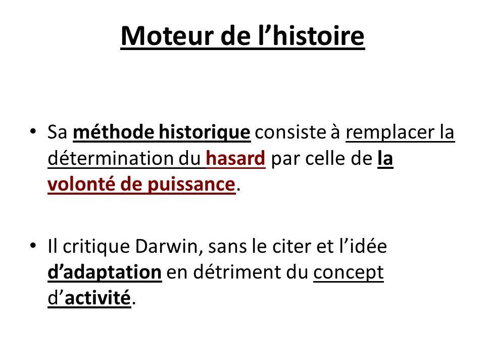 Moteur de l'histoire Sa méthode historique consiste à remplacer la détermination du hasard par celle de la volonté de puissance.